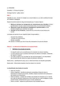 Le 18/03/2009 Evaluation + 2 travaux de groupe Sondage d`opinion