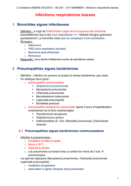Infections respiratoires basses Bronchites aigues infectieuses