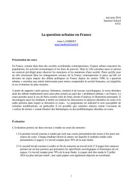 La question urbaine en France - Institute of French Studies