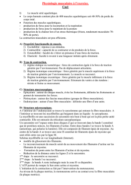 Physiologie musculaire à l`exercice. Cm1