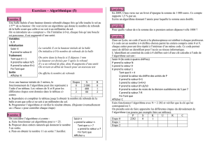 Exercices – Algorithmique (5)