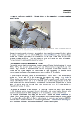 LeMonde.fr 09 mai 2016 Le cancer en France en 2015 : 150 000