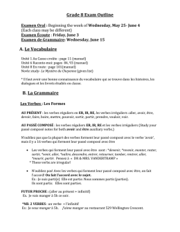 Grade 8 Exam Outline Examen Oral