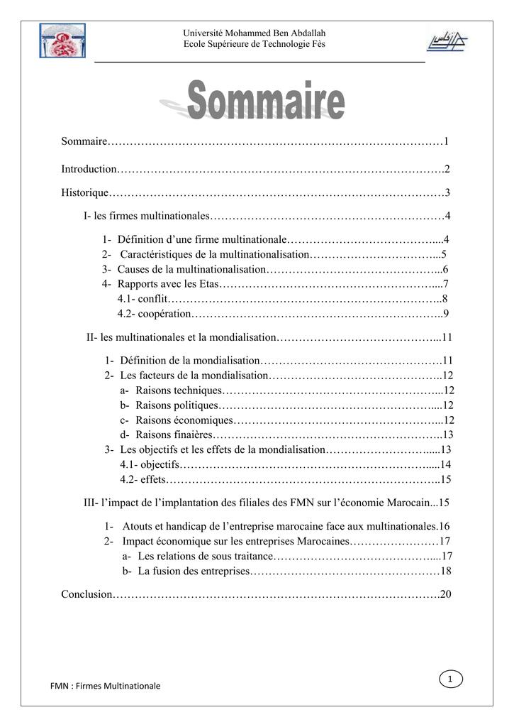 dissertation firmes multinationales