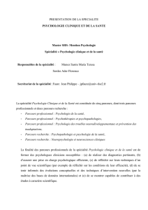 PRESENTATION DE LA SPECIALITE PSYCHOLOGIE CLINIQUE ET