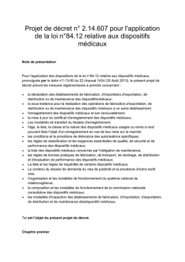 Pour l`application des dispositions de la loi n°84-12