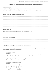 Chapitre 11 : Transformations en chimie organique : aspect
