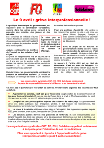 Les organisations syndicales CGT, FO, FSU, Solidaires appellent