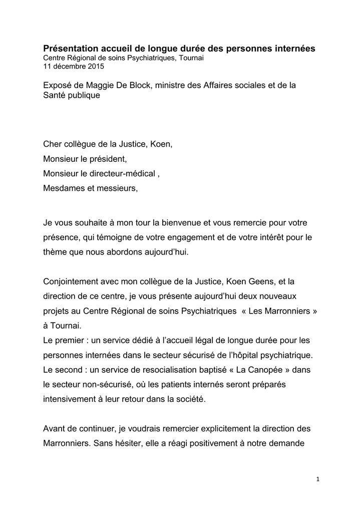 Presentation Accueil De Longue Duree Des Personnes Internees