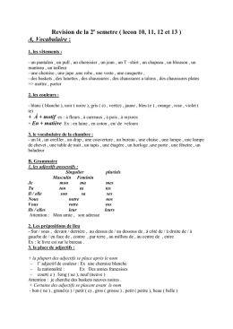 Revision de la 2 e semetre ( lecon 10, 11, 12 et 13 ) A, Vocabulaire