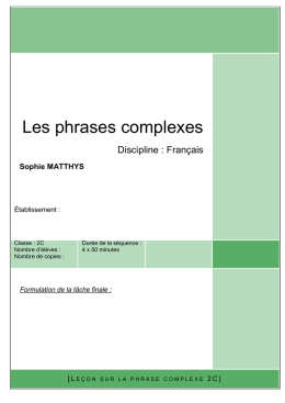 Les phrases complexes