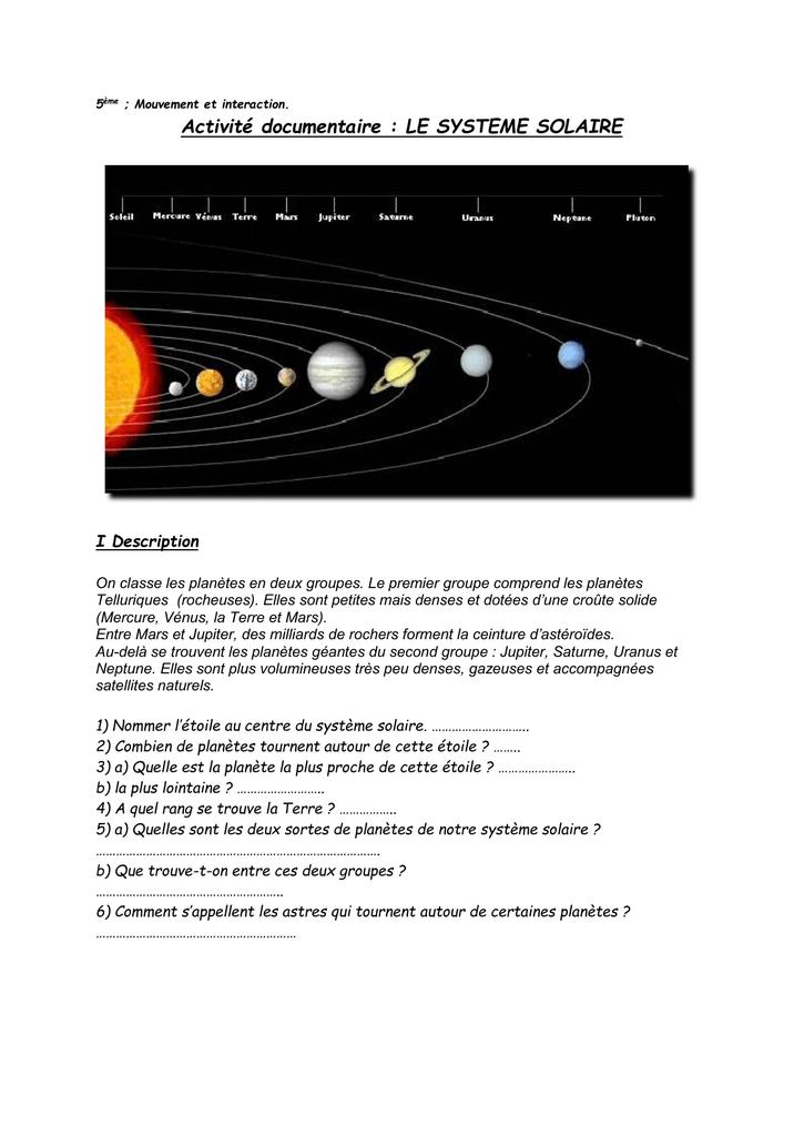 Activité Sur Le Système Solaire Révision