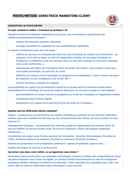 Description du PostE/Métier