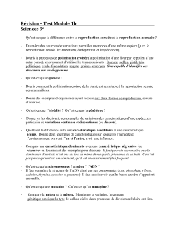 Révision – Test Module 1b Sciences 9 e