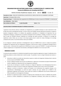 Consultant International ed adaptation de l`agriculture face