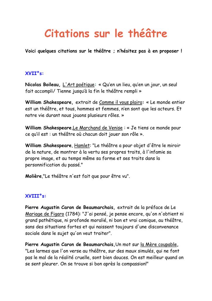 Citations Sur Le Théâtre Cahier De Texte