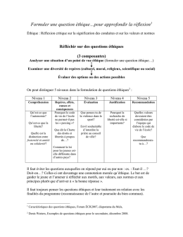 Formuler une question éthique