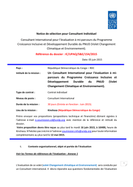 Consultant International pour l`évaluation à mi