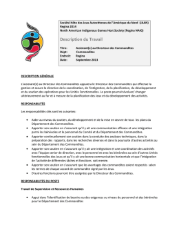 Description du Travail - 2014 North American Indigenous Games