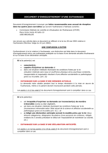 DOCUMENT D`ENREGISTREMENT D`UNE EUTHANASIE
