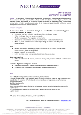 Offre d`emploi Community Manager H/F