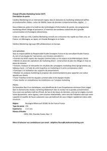 Chargé d`Etudes Marketing Senior (H/F) Description du poste