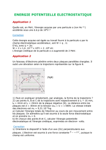 ENERGIE POTENTIELLE ELECTROSTATIQUE Application 1