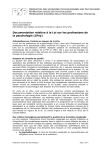 Documentation relative à la Loi sur les professions de la psychologie