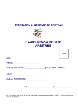 Dossier Medical (PCMA ARBITRES) - Ligue de Football de la wilaya