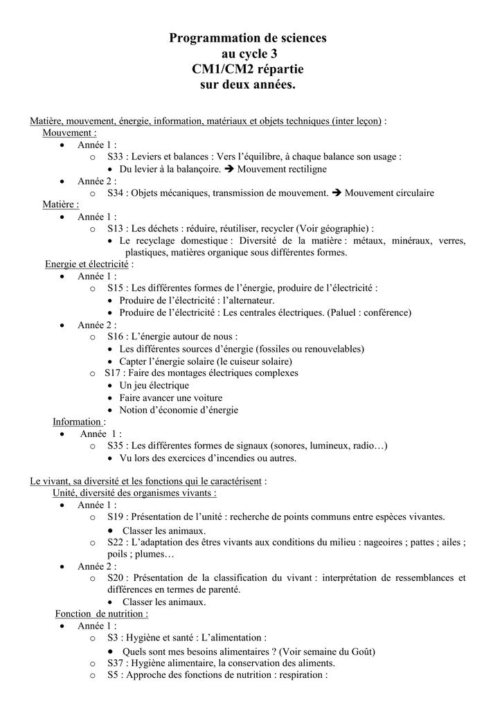 Programmation De Sciences Cm1 Cm2 Revu