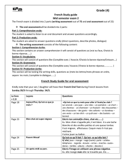 French Study guide Mid semester exam 2