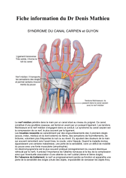 SYNDROME DU CANAL CARPIEN et GUYON
