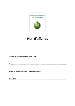 Plan d`affaires - OCP Innovation Fund for Agriculture