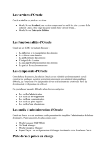 Les versions d`Oracle
