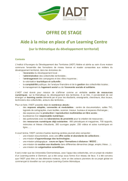 Aide à la mise en place d`un Learning Centre
