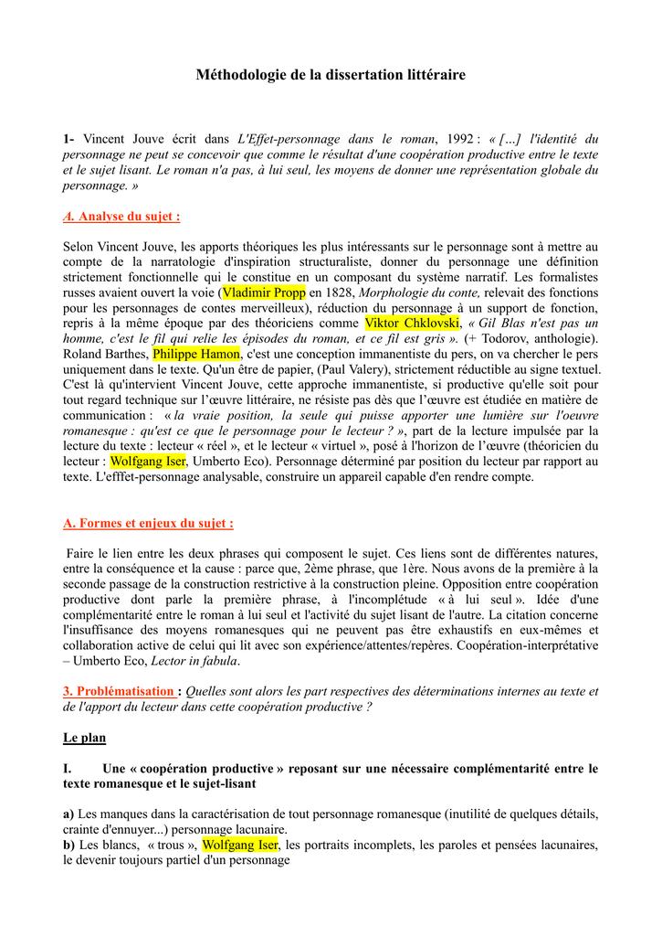 Dissertation litteraire sujets