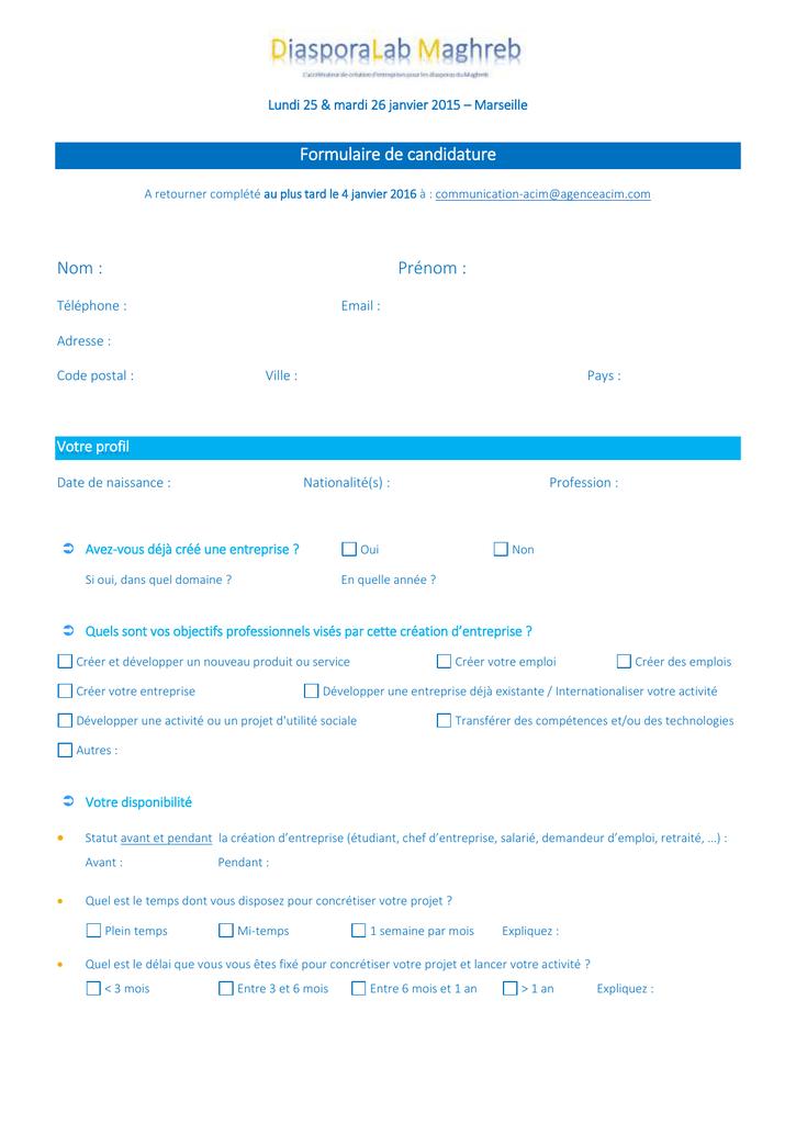 t u00e9l u00e9charger le formulaire de candidature