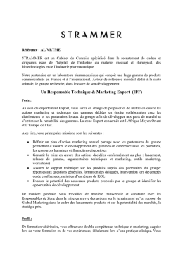 Responsable Technique et Marketing Export (H/F)