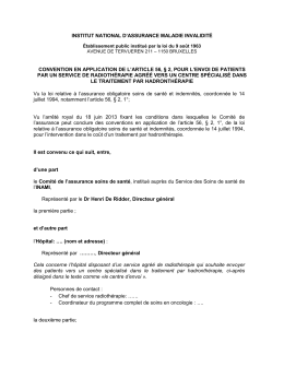 Convention de l`article 56, §2 - Hadronthérapie