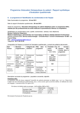 Rapport d`évaluation quadriennale 2015