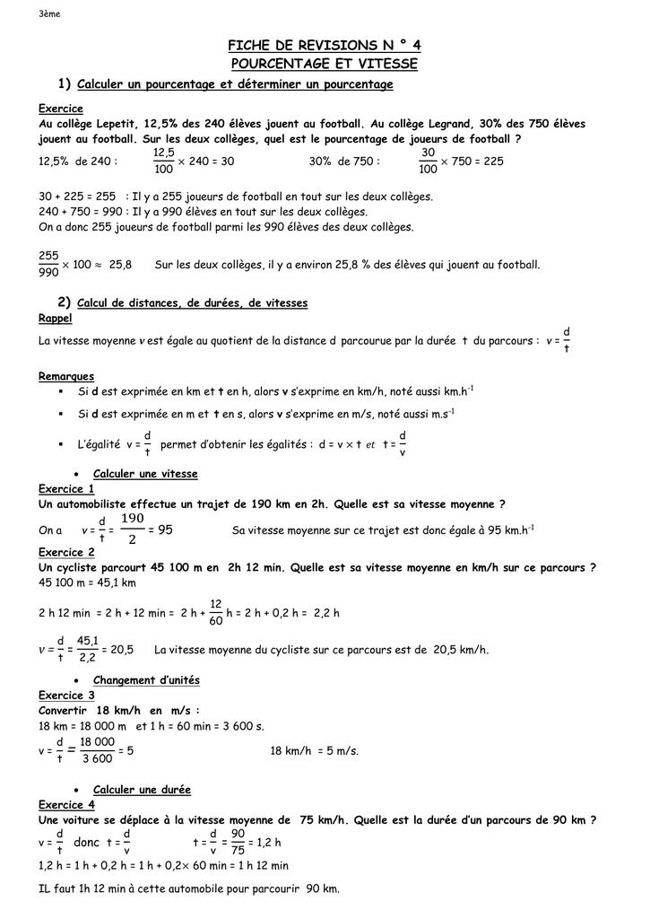 3eme Fiche De Revisions N 4 Pourcentage Et Vitesse