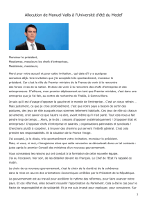 Allocution de Manuel Valls à l`Université d`été du Medef Monsieur le