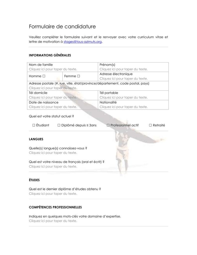 Formulaire de candidature