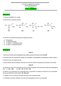 LES AMIDES Exercice 1