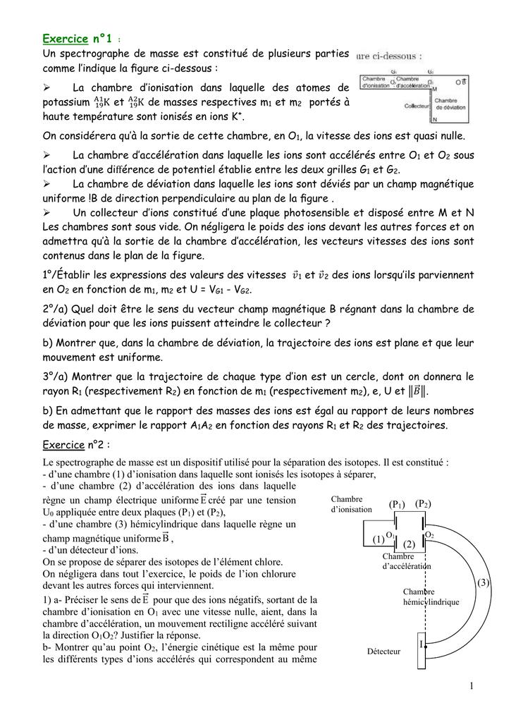 Exercice N 1 Un Spectrographe De Masse Est Constitue De