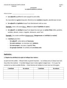 Evaluation de grammaire CM1 : l`adjectif qualificatif. /15 ...