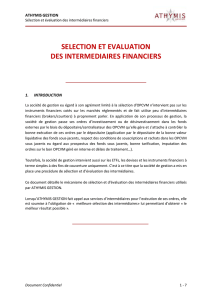 selection et evaluation des intermediaires financiers