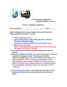 2014 Summer assignment Rising 8 th graders – level 3 French