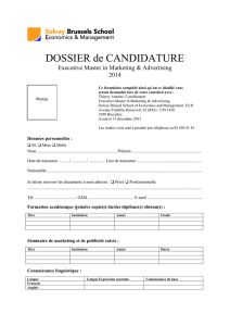 DOSSIER de CANDIDATURE Executive Master in Marketing