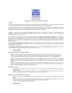 TERMES DE REFERENCES Coordinateur du Marketing et des